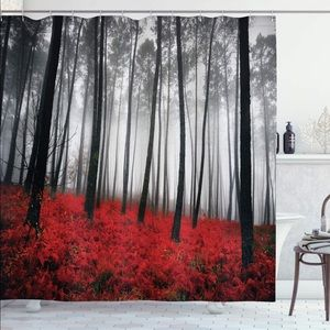 Other - Red Black Forest Woods Shower Curtain